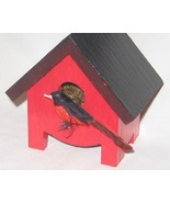 Miniature Birdhouse  Red Robin  Hand Painted - ... - $12.00