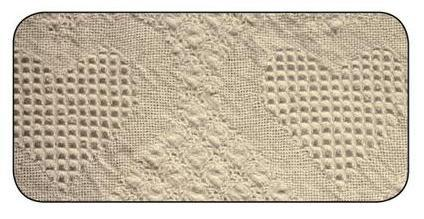Woven Basketweave Hearts Natural Cotton Afghan Made in USA