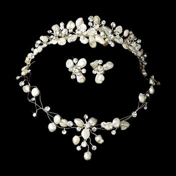 Keshi Pearl and Crystal Beach Wedding Tiara and Matching Bridal Jewelry S
