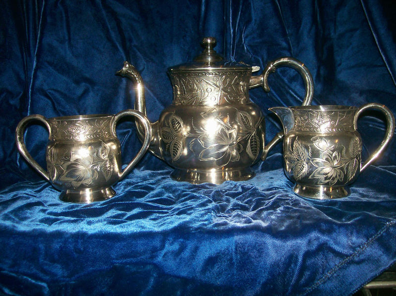 Babcock & Co Silver plate tea set Victorian Antique coffee tea pot creamer sugar