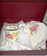June Birthday or Anniversay Tea Cup & Saucer Po... - $14.84