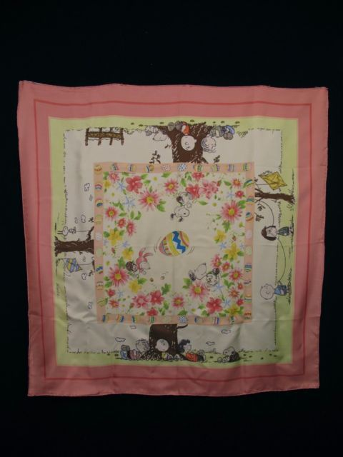 VTG SNOOPY PEANUTS ITALY SILK EASTER SCARF Plump Hand Rolled Hem KITE IN TREE
