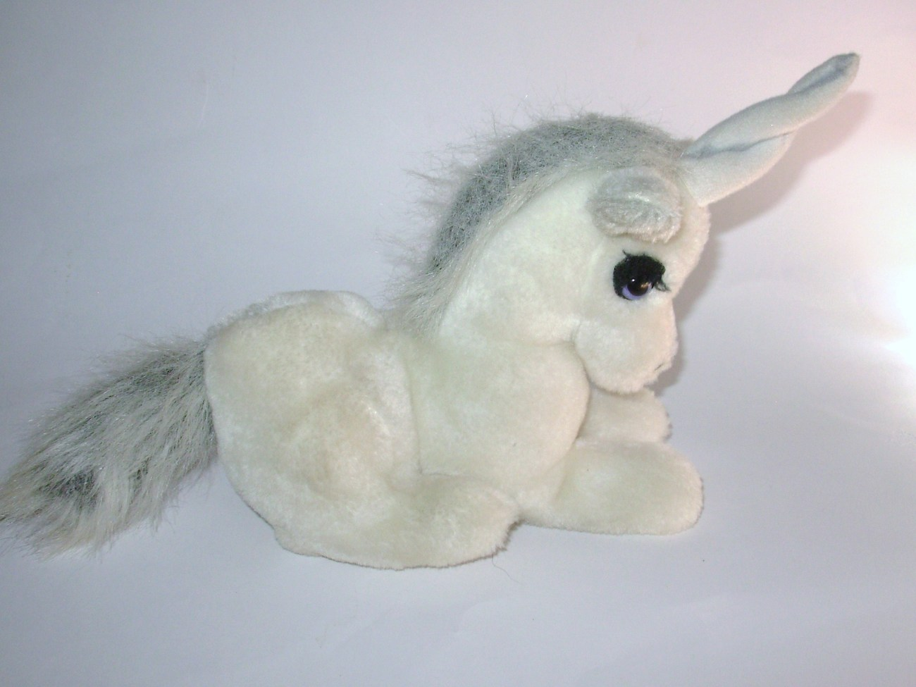 Vintage Fun Farm Unicorn Plush Stuffed Animal Toy White Gray
