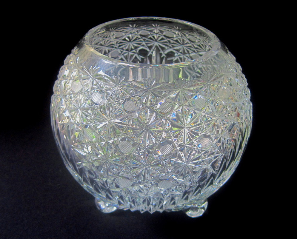 Czech Bohemian Curled Footed Crystal Sphere Bowl Vase