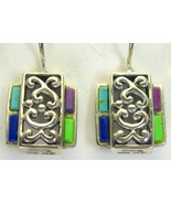 Vintage Turquoise + Coral + Lapis Sterling Silv... - $95.23