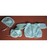 Baby 3 pc Crochet Layette Green Jacket Hat Boot... - $7.43