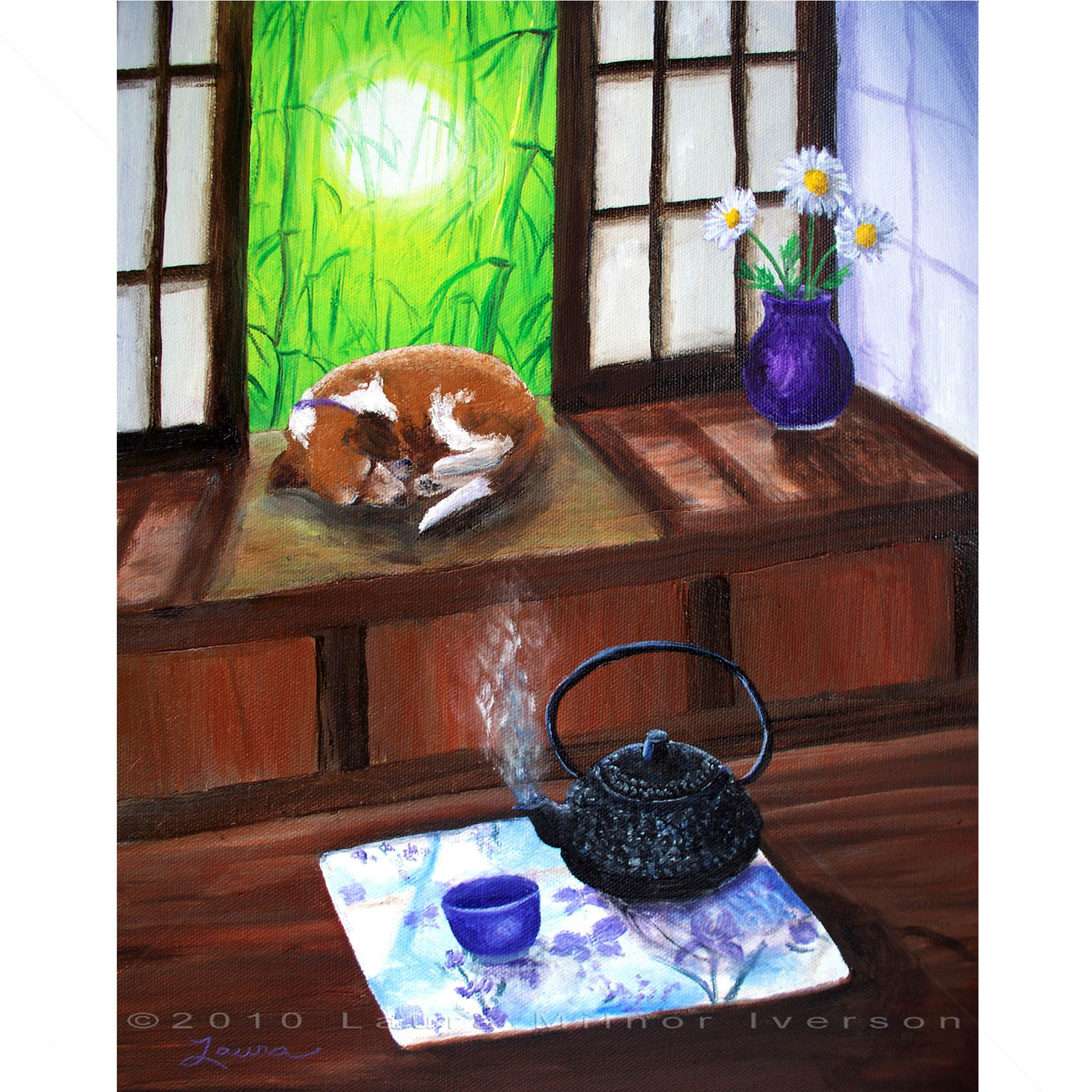 Beagle Dog Japanese Teahouse Tetsubin Teapot Zen Art Bamboo Original Painting