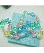 Modern Lucite pastel rainbow w sparkle necklace... - $8.00