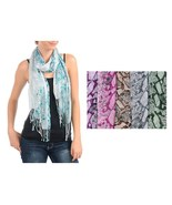 Green Snake Reptile Animal Print Pattern Lightweight Fringed Scarf Wrap 23 X 64 - $7.99