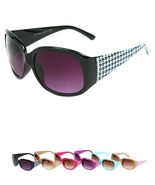 Cream Houndstooth Retro Vintage Italy Fashion Designer Sunglasses Rhinestones