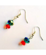 Sterling Red and Green Swarovski Crystal Fishho... - $12.00