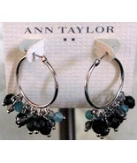 Ann Taylor Beaded Hoop Silver Earrings - Pierce... - $12.00