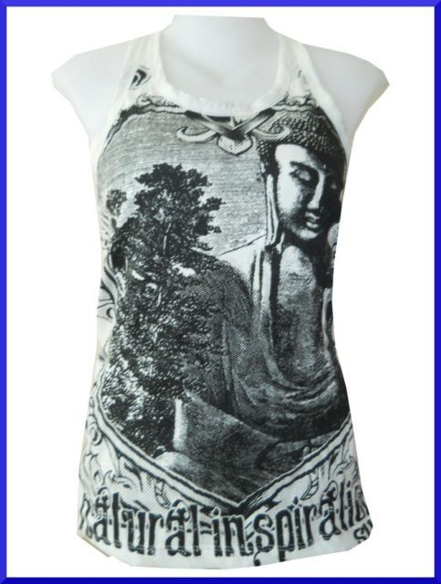 Lady Shirt Tank Top Thai Buddha Thailand BOHO HOBO Temple Zen Sure FreeSz SURE
