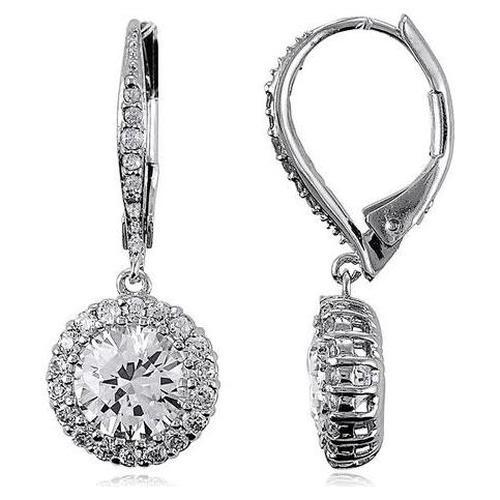 Sterling Silver 925 Cubic Zirconia CZ Flower Dangle Leverback Earrings Jewelry