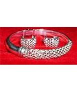 925 Sterling Silver Mesh Bangle Bracelet and Ea... - $24.95