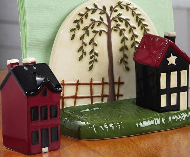 Image 2 of Country Napkin Holder & Salt And Pepper Shaker Set