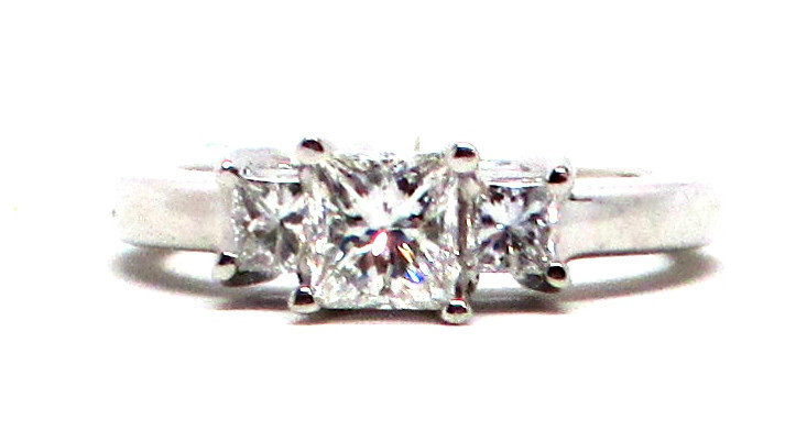 New Certified Princess Cut Diamond 1.03 cts VS1 GH Platinum Engagement Ring Sz 7