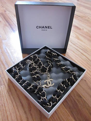 BNWT Chanel Black Satin Belt Interlocking Chain CC Sz80