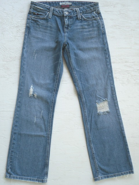 TOMMY HILFIGER Destroyed Low Rise Boot Denim Jeans Womens 4