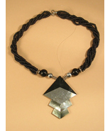 Black and Silver Colored Necklace Abalone with ... - $10.00