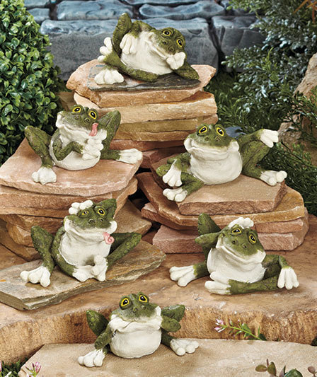 Set of 6 Wacky Goofy Frogs Garden Statues