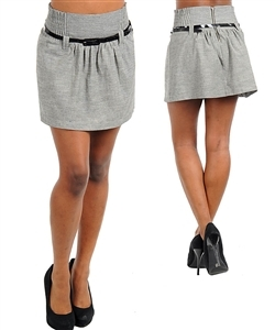 Casual Light Gray Skirt by Timing Black Skinny Belt Included NEW Size M