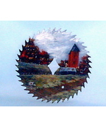 Hand Painted Saw Blade Fall Old Farm Silos Scen... - $34.00