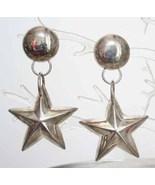Art Moderne 80s Stunning Silvertone Star Earrings - $8.95