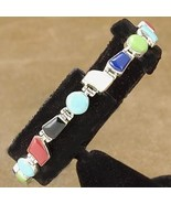 Inlaid Turquoise Coral Lapis Sterling Silver Te... - $202.57