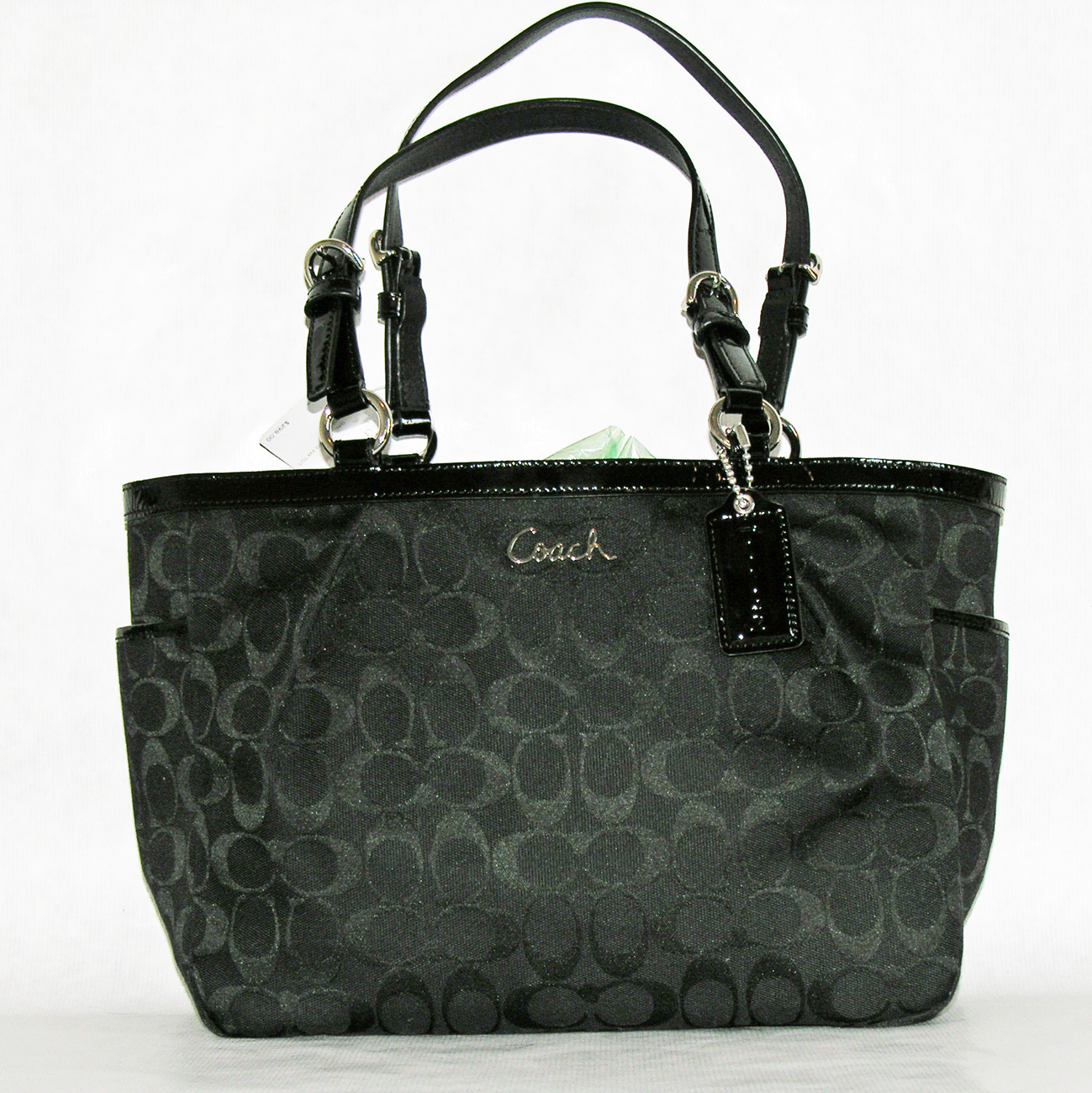 Coach Signature East West Gallery Tote Silver/Black F17726 New
