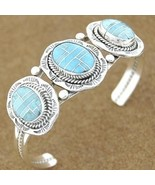 Native American Inlaid Turquoise Sterling Silve... - $335.47