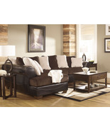 MARTINO-BROWN FAUX LEATHER & FABRIC SOFA COUCH ... - $1,174.85