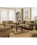 JULIAN - TRADITIONAL BROWN FABRIC WOOD TRIM SOF... - $1,157.78