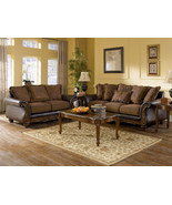 CAMILLE - OLD WORLD WOOD TRIM BROWN FABRIC SOFA... - $1,325.71