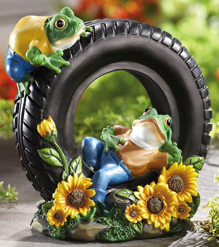 Relaxing Frogs On Tire W/ Sunflowers Garden Sculpture