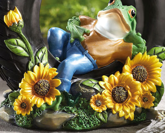 Image 1 of Relaxing Frogs On Tire W/ Sunflowers Garden Sculpture