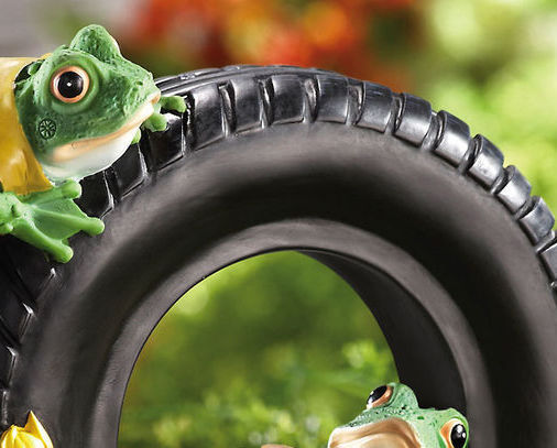 Image 2 of Relaxing Frogs On Tire W/ Sunflowers Garden Sculpture