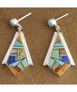 Inlaid Turquoise Mixed Semi Precious Stone Ster... - $199.57