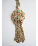 A. Philippe for Trifari Long Faux Turquoise &amp; Coral Tassel Pendant Necklace. 