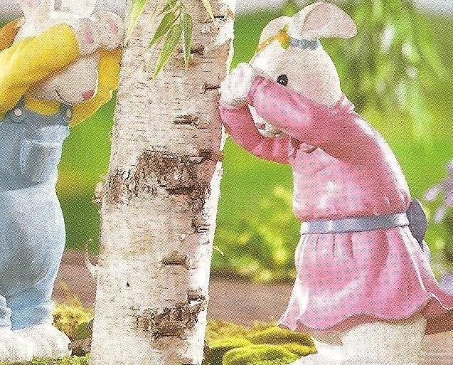Image 2 of Girl & Boy Bunnies Playing  Peek-A-Boo Seasonal