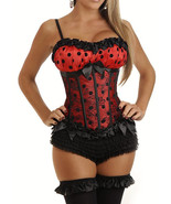 Red Burlesque Peasant Top Satin Corset with Bla... - $32.99