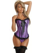 Sexy Purple Strapless Polka Dot Corset with Ruf... - $31.99