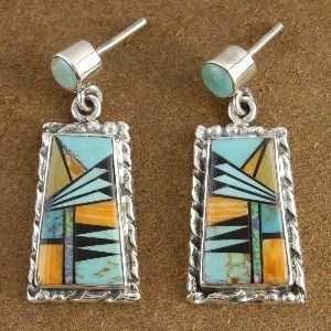 Inlaid Turquoise Mixed Semi Precious Stone Post Earrings Made by Shawn Doherty