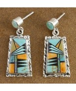 Inlaid Turquoise Mixed Semi Precious Stone Post... - $249.07