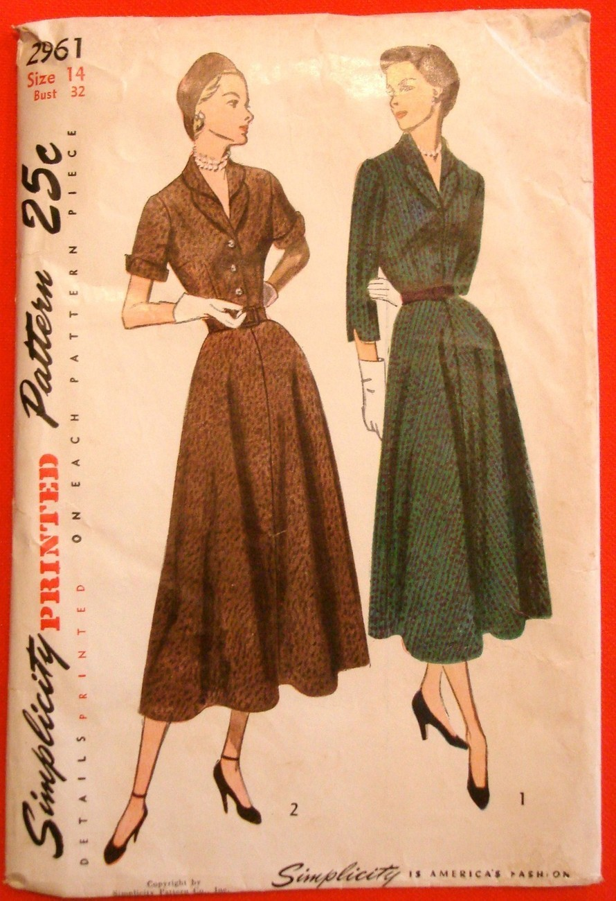 Vintage 1940s Tea Dress Pattern Simplicity 2961 Sz14 B32 Double Shaped Collar