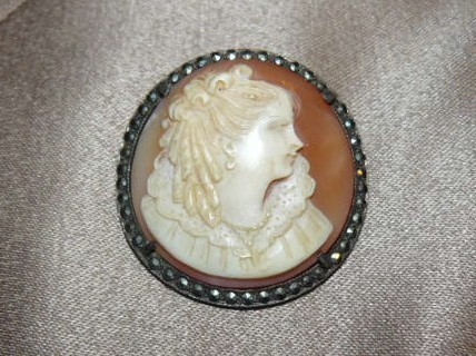 ANTIQUE VICTORIAN CARVED SHELL CAMEO WITH MARCASITE FRAME STERLING PIN PENDANT