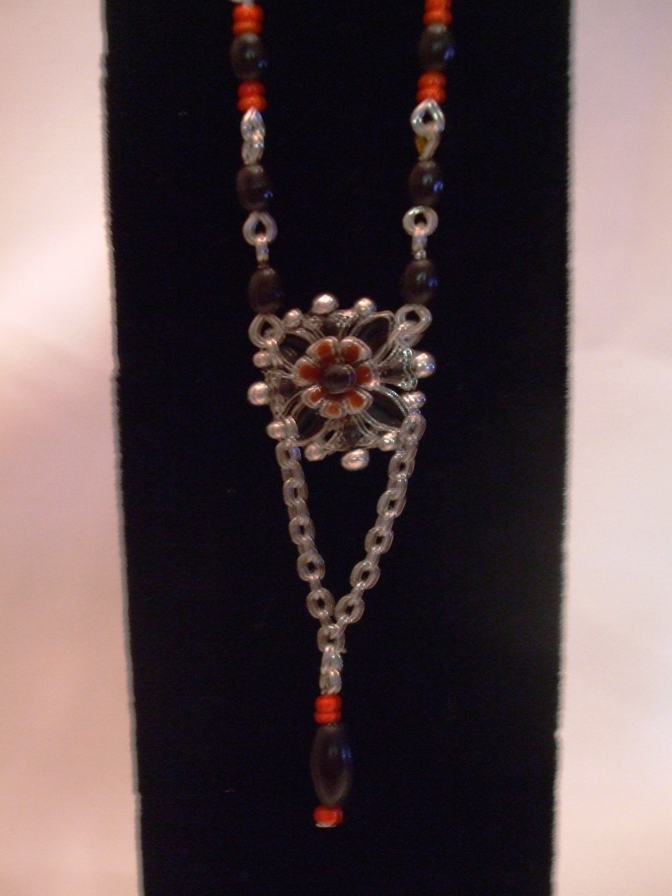 Enamel Flower Beaded Chain Necklace with Earrings