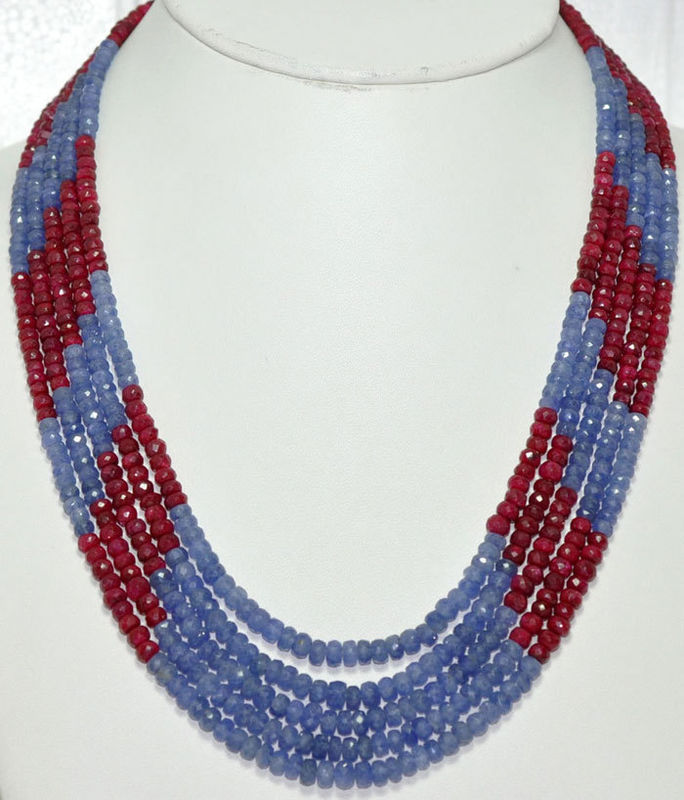 Burma Blue Sapphire & African Ruby Gemstone Beads Set