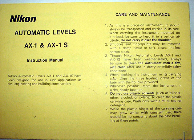 Nikon AX-1 AX-1s Ax 1 Surveyor Level Manual