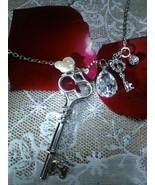 Double Keys Necklace Pendant  with Gemstone - $15.99